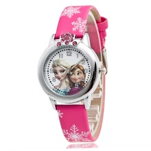 New Cartoon Children Watch Princess Elsa Anna Watches Fashion Girl Kids Student Cute Leather Sports Analog Wrist Watches(China)