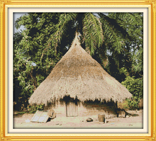 African local house cotton home scenery DMC decor Cross Stitch kit 14ct white 11ct print embroidery DIY handmade needlework wall