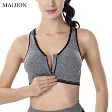 MAIJION Women Fitness Yoga Sports Bra For Running Gym Padded Wirefree Shakeproof Underwear Push Up Seamless Front Zipper Top Bra(China)
