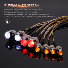 8 LED Light Kit 2 White 2 Red 4 Yellow for 1/10 1/8 Traxxas HSP Redcat RC 4WD Tamiya Axial SCX10 D90 HPI RC Car LED Lamp