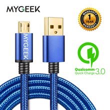 MyGeek Nylon Micro USB Cable for Android 2m Micro USB Mobile Phone Charging Cables for Samsung HTC Huawei Fast Charge wire(China)