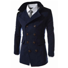 2016 Fashion Men's Autumn Winter Coat Turn-down Collar Wool Blend Men Pea Coat Double Breasted Winter Overcoat MWN113