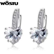 Wholesale Brand Fashion Gorgeous Heart Hoop Earring for Women With CZ Luxury Earrings Jewelry XCNE095(China)