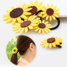 1 PC Hair Rope Women Chic Simulation Fabric Sunflower Hair Rope Hairpin Brooch Hair Accessories