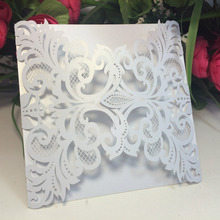 50pcs White Wedding Party Invitation Card Romantic Decorative Cards Envelope Delicate Carved Pattern Wedding Party Supplies