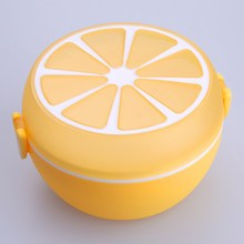 2 Layer Lemon Pattern Lunchbox Bento Lunch Box Food Container with Spoon Fork  Plastic Lunch box Tableware Microwave Dinnerware