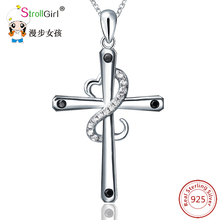 Sg 925 Sterling Silver Chain Pendant Necklace Fashion Jewelry Winding CZ Heart Of The Cross Necklaces & Pendants For Women(China)