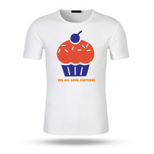 2017 Cupcake T Shirt Newest Fashion Funny KD Short Sleeve T-Shirt Print Second The Man Modal Cotton Top Men White Tee Shirt