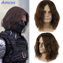 Captain America Civil War Winter Soldier Bucky Barnes Dark Brown Cosplay Wigs Cosplay Party Halloween Hair Toupee with hairnet