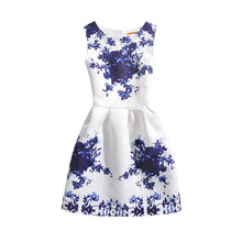 girls clothing dress 2017 Summer Floral Printed Sleeveless Formal Children Dresses Teenagers Party Clothes party Kids dresses