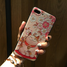 Lucky Cherry Cat Celular Bag Case For iPhone 7 8 Plus China Retro Case 3D Printed Relief Phone Cases For iPhone 6 6s Plus Fundas