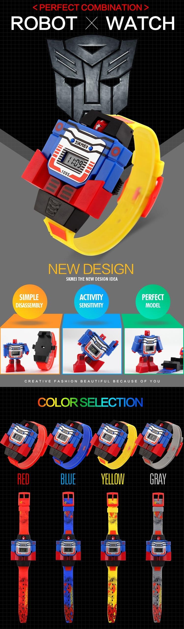 Модные Детские Спортивные Наручные Часы Робот Трансформер для Мальчиков