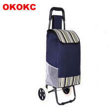 OKOKC Shopping Luggage Cart Folding Hand Carts Trolley Cart 2 Wheel Shopping Trailer Travel Accessories(China)