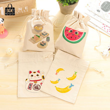8 kind cartoon print 100%cotton fabric dust cloth bag Clothes socks/underwear shoes receive bag home Sundry kids toy storage bag(China)