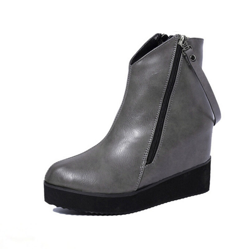 Fashion Height Increasing Wedge Boots For Women Pu Leather Shoes Zip Black Ladies Boots High Heel Shoes For Girls Handmade<br><br>Aliexpress
