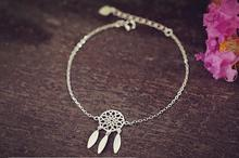 Silver Plated Cuff Bracelet Tassel Dreamcatcher With Feathers Bracelet for Women Party Gift Vintage Hand Link Bracelet