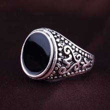 Free Shipping! Size 7-10 Fashion Biker Men Rings Thailand Silver Plated Black Enamal Engagement Ring Vintage Jewelry