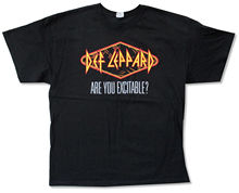 "Print T Shirt O-neck Short Def Leppard ""excitable Spring 2013 Tour"" Black T-shirt New Official Adult"