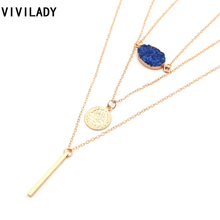 Buy VIVILADY Bohemian Multi Layers Metal Chain Tassel Necklace Women Gold Color Bar Stick Druzy Stone Bijoux Party Body Jewelry Gift for $2.17 in AliExpress store