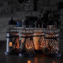 Mediterranean Style Lighthouse Lanterns Candle Holder Tealight Candlestick Indoor/Outdoor Decor Ornaments