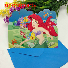 6pcs Cards and 6pcs Envelopes the little mermaid Invitation Card for kids Birthday party supply LUHONGPARTY