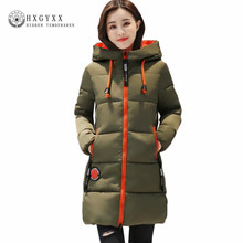 Warm Winter Jacket Women 2017 New Hooded Quilted Coat Solid Long Down Cotton Military Parka Plus Size 3XL Slim Zipper Outwear O3(China)