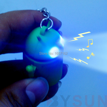 Mini Android Robot figure toy LED Light+Sound Mobile phone pendant Car&Bag deco Little cartoon gift Smart Torch keychain Keyring