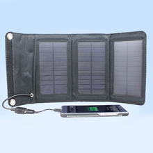 5W Foldable Solar Battery Charger USB Power Bank Pack for Cellphone Black