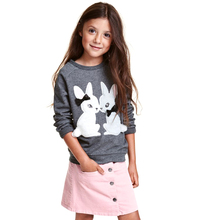spring autumn girl Long Sleeve plus velvet T-shirt Spring cartoon fox children pullover Fashion Gray pink Childrens tops