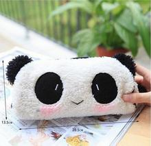Cute Cartoon Kawaii Plush Panda Pencil Box Lovely Pen Case Korean Stationery School Supplies for KidsFree shipping 10012