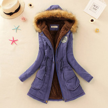 Winter Coat Women 2017 New Parka Casual Outwear Military Hooded Thickening Cotton Coat Winter Jacket Fur Coats Women Clothes D21(China)
