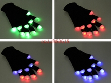 50pcs/lot Free shipping Flash Color changing LED Glove Rave light led finger light gloves light up glove For Party favor
