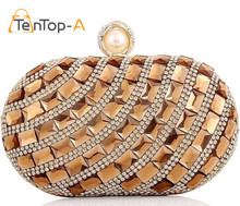 TenTop-A New High Quality Goose Egg Women Colorful Glass Diamond Evening Bags Diamond Clutch Purse Acrylic Crystal Shoulder Bags(China)