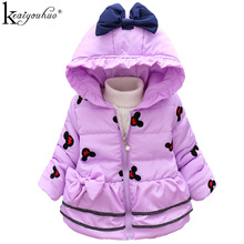 KEAIYOUHUO 2017 Winter Girl Cartoon Cotton Jacket&Coat Kid Clothing Jackets For Girls Full Sleeve Clothes Hooded Thick Outerwear