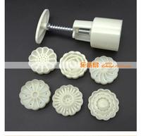 20sets/lot! 6pcs/set! Creative Design 3D Flowers Shape Mooncake Mold Set Dessert Green Bean Cake Mold DIY Mold