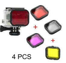 4pcs/lot  Diving Filter Gopro HERO 3+ 4 Camera Housing Case Underwater Lens Converter Purple Red Gray Yellow filter
