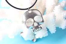 2pcs Wholesale~Silver Skull Necklace, Day of the Dead Jewelry, Antique Silver Charm Necklace, Steampunk Necklace