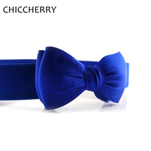 Retail New Fashion Women'S Fashion Summer Satin Bow Tie Elastic Waistband Belts For Dresses Cinto Feminino Couro Free Shipping(China)