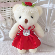 Cartoon Teddy Stuffed Bear 12cm lovely Small Plush Toy Teddy Bear,Wedding Gift For Lovers Animal Soft Plush Doll Keychain(China)