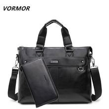 VORMOR 2017 Men Leather Shoulder Bag and Purse Male Casual Business Satchel Messenger Bag Fashion Men's Handbag Bags(China)