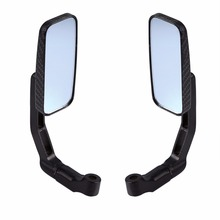 1 Pair Universal 360 rotate Motorcycle Rectangle Rear View Mirrors Black Thread color New(China)
