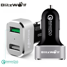 BlitzWolf BW-C6 QC2.0 Quick Charge 2.0 Dual Port USB Car Charger Universal Mobile Phone Car-Charger 30W For Samsung For iPhone 7(China)