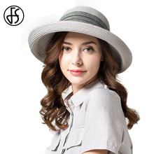 FS 2017 Summer Straw Hats For Women Wide Curl Brim Korean Bowknot Ribbon Design Floppy Beach Sun Hats For Women With Big Heads(China)
