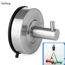 SaiDeng Bathroom Hooks for Clothes Towel Wall Hook Kitchen Stainless Steel Strong Suction Cup Key Hat Bag Hanger Rack Holder(China)
