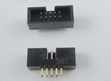 10 Pcs 1.27mm x1.27 mm Box header 2x5 Pin 10 Pin dual rows Through Hole DIP type Straight Male Shrouded PCB  IDC Socket