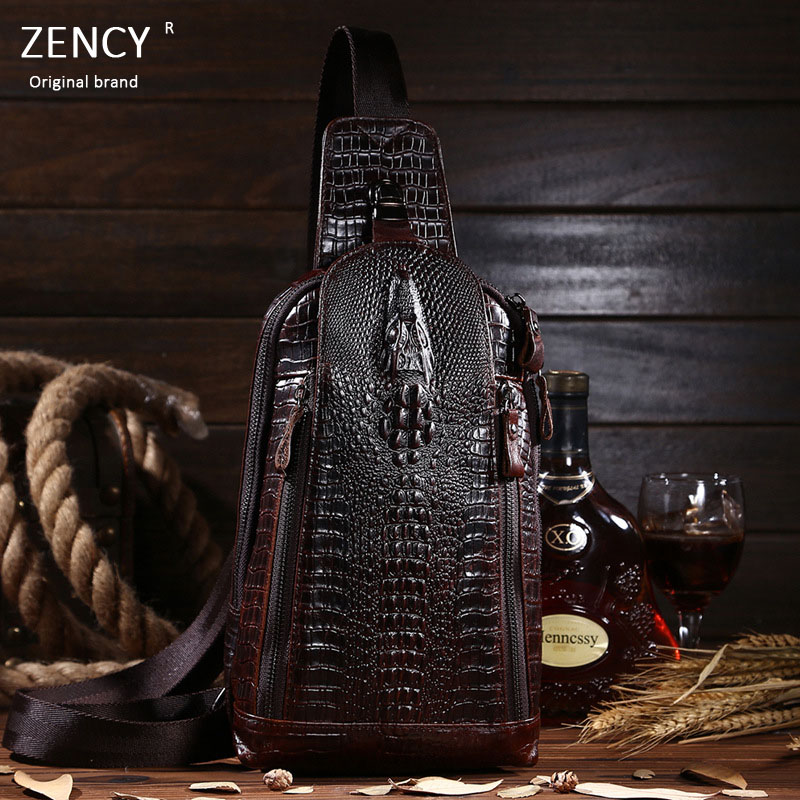 Zency Brand Fashion Crocodile Pattern Soft Genuine Oil Wax Cow Leather Men Chest Bag Shoulder Bags<br><br>Aliexpress