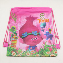 Non-Woven Fabric 1pc Drawstring Bags Birthday Theme Trolls Backpack Shopping bag for Boy Girls Favors Gift Party Decoratios
