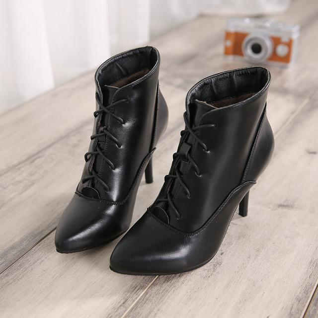 spring black pumps red pumps lace-up women ankle martin boots thin high heels woman shoes retro female tacones femininos WSH151<br>