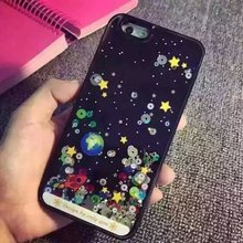 "Cartoon Starry Sky Space Ship Cover Glitter Star Flowing Water Liquid Case For iPhone SE 5 5S 6 6S 4.7"" 6 6S Plus 5.5"""