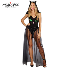 SEBOWEL Women Bodysuit Sexy Sleeveless Top Black Jumpsuits Romper Sexy V Neck Pretty Kitty Bodysuit Cosplay Costume Hallowmas(China)